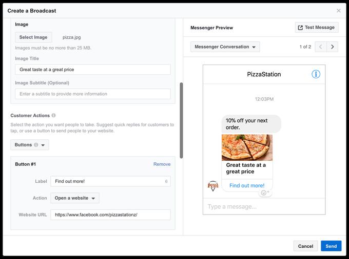 Facebook Messenger advertising tool Broadcast screenshot