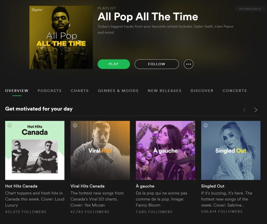 Spotify - gradient colour overlay on images