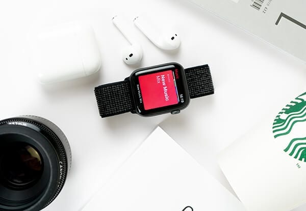 image of branded products, Canon lense, Apple Watch, Starbucks cup