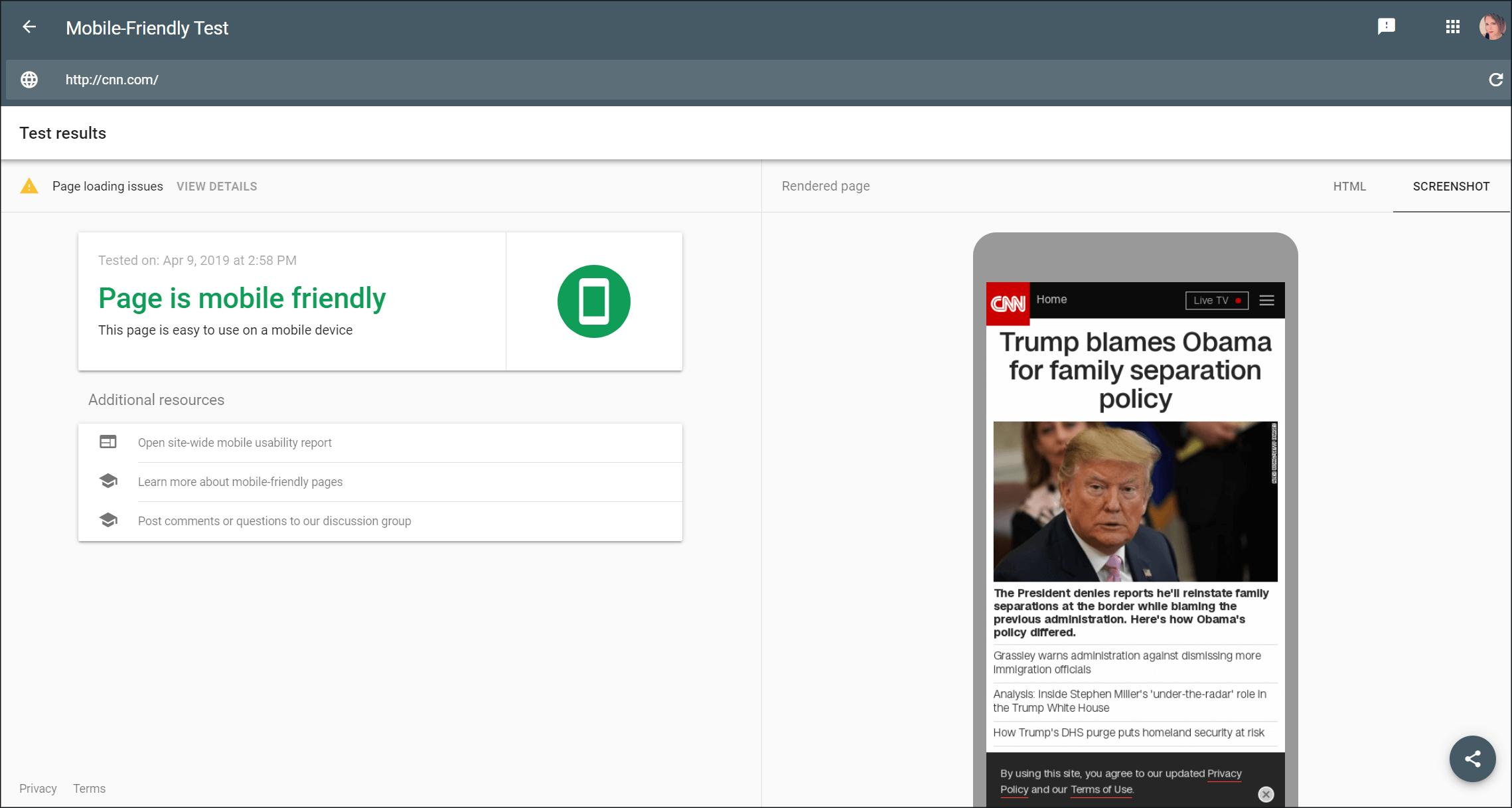 Google mobile-friendly Capture