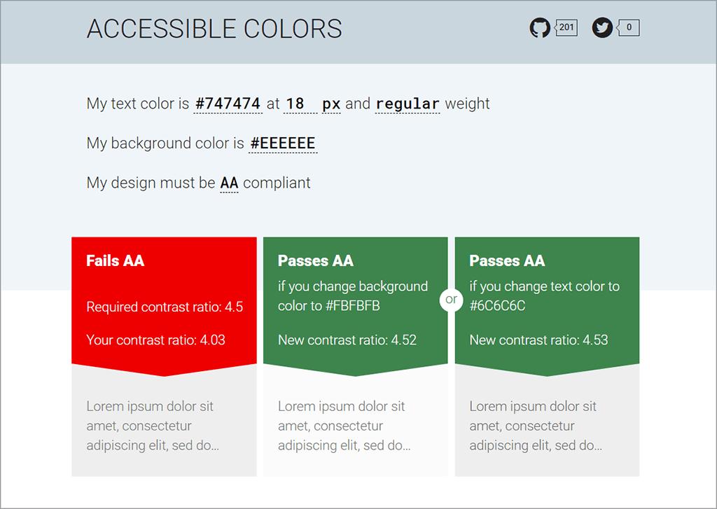 Accessible Colours Website Screen Capture