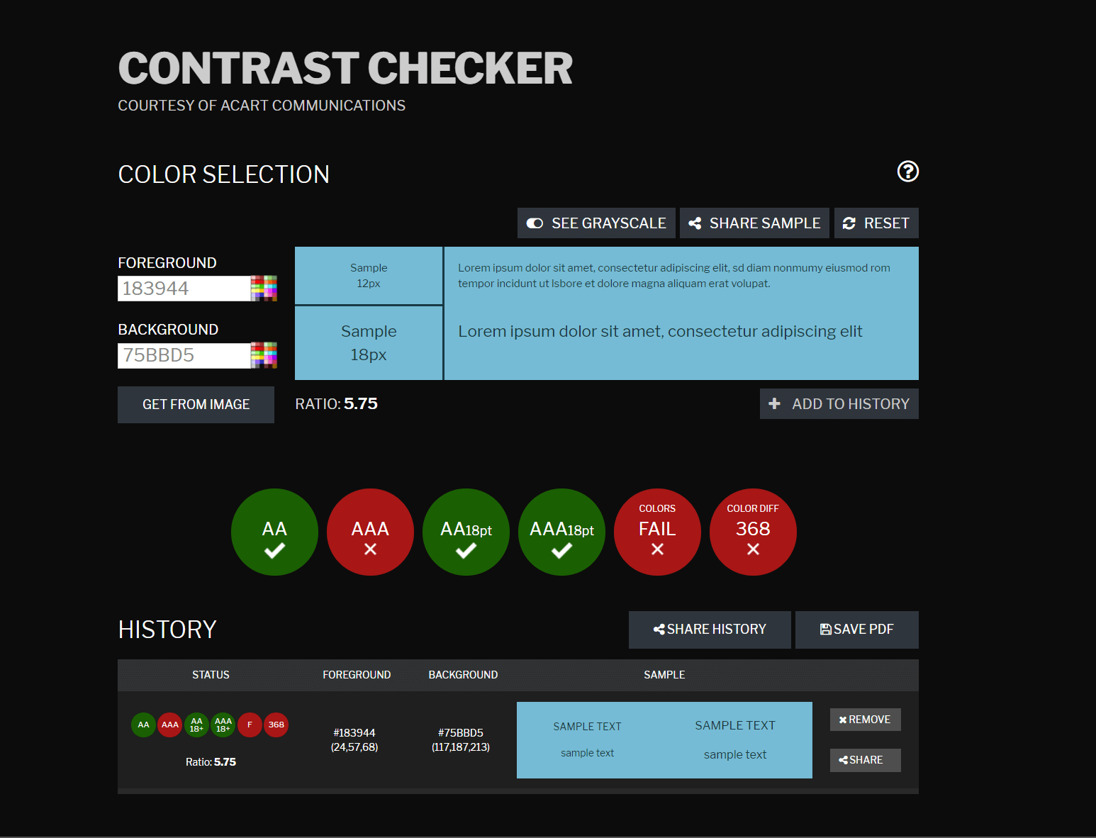 Contrast Checker Website with History and share buttons